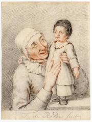 Theodorus de Roode - Untitled - Grandmother smiling at a (grand)child.