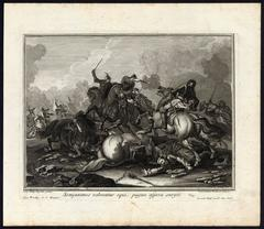 Set of four prints with soldiers on horseback in combat.