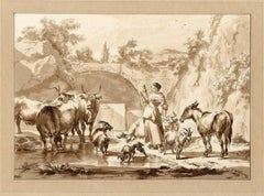 Untitled - A shepherdess with a spinning stick and her herd near a well.
