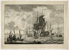 Untitled - Rowingboats taking passengers to a sailing ship.