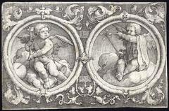 Untitled - Two putti seated on clouds in circles with grotesque tendrils.