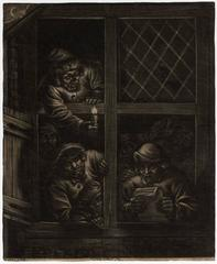 Untitled - Group of singing men in a window with candlelight.