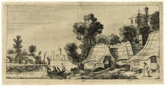 Untitled - A river with boat and a village with farms.