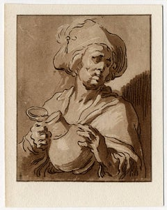 2 Antique master prints, Untitled - A man with a jug.