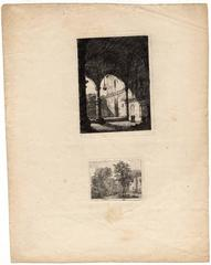 Untitled - View of a monastery and a landscape.