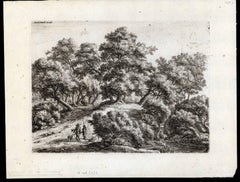 Plate: Landscape with 2 hunting men and their dogs.