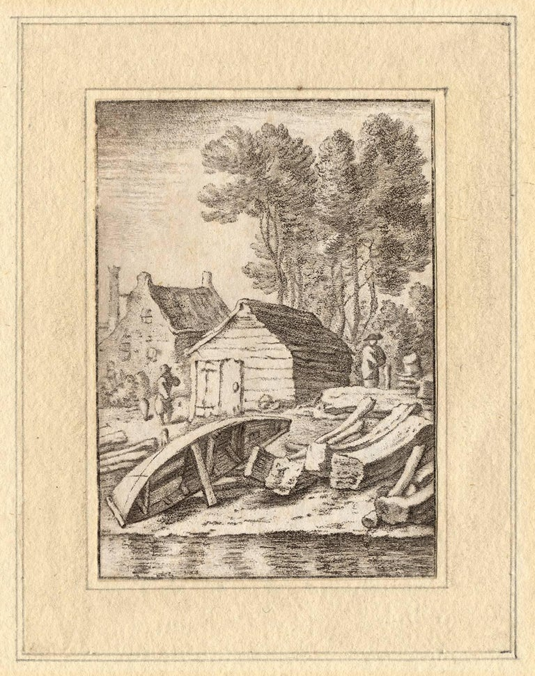 Cornelis Ploos van Amstel Landscape Print - Set of 2 prints: A ship's wharf & A bend in the river with a ship.