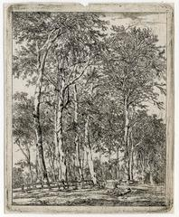 Untitled - A copse of trees with two resting figures in the foreground.