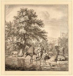 Untitled - Shepherd and shepherdess near a stream.