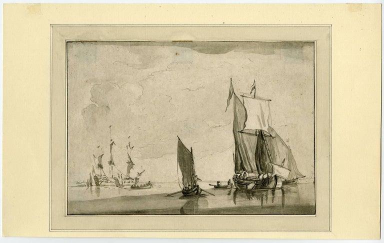 Maria Katharina Prestel Landscape Print - Dessin de Guillaume van de Velde.