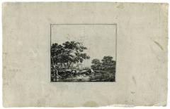 Untitled - Landscape with trees on the bank of a stream.