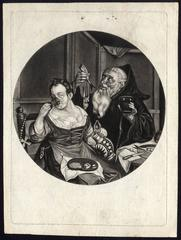 Untitled - A monk and a woman at a banquet.