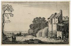 Untitled - Landscape with a road and lodge and carriages moving toward a city.