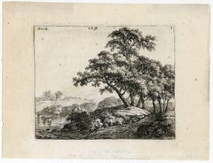 Untitled - Landscape with a group of tree near a lake.