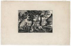 Claes Jansz. Visscher - Untitled - Landscape with a small wooden bridge over a stream.