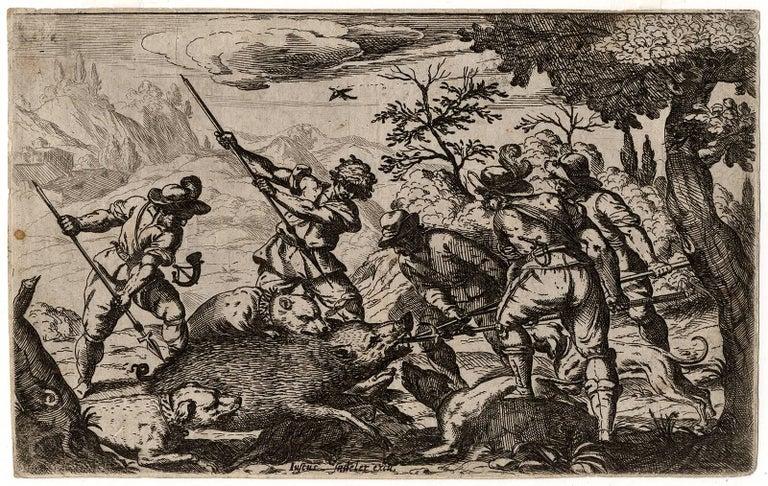 Odoardo Fialetti Figurative Print - Untitled - Boar hunt.