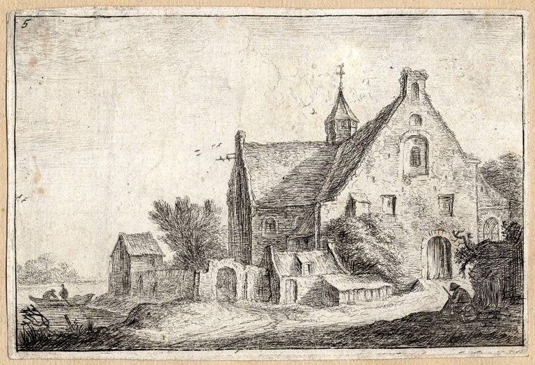 Anthonie Waterloo Landscape Print - Untitled - A village church on the bank of a river.