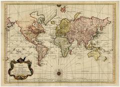 Essay d'une Carte reduite contenant les parties connuees du Globe Terrestre.