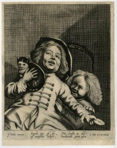 Seght my of hy die lacht is bly [..]. - Two boys playing with a cat.