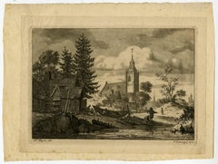 Untitled - View of a village with a church.