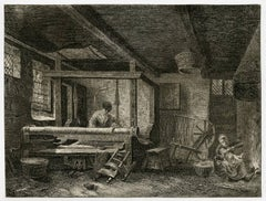 Untitled - An interior of a house with a man working at a loom.