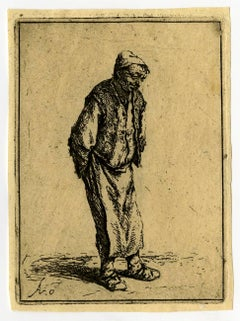 Untitled - A standing man with his hands on his back.