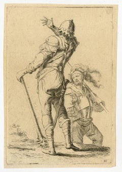 Untitled - Depiction of two soldiers, one raising his arm to strike the other.