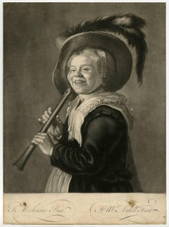 Untitled - A young girl playing a flute wearing a big hat.