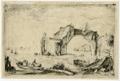 Untitled - A landscape with a rocky coast and two boats.