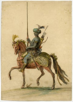 Untitled - An oriental horseman with a lance and bow and arrow.