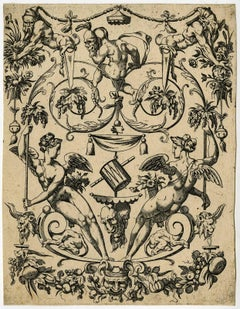 Untitled - Ornamental design with winged genies, gnomes, Bacchic/faun masks.