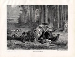 Doppelsturz -  Hunting scene with an accident involving two drag hunters.
