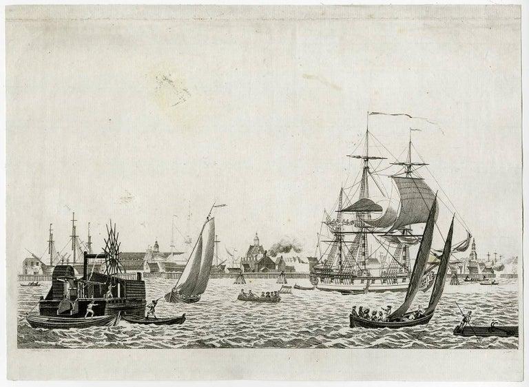 Matthias de Sallieth Figurative Print - Oostelyk gedeelte van Amsterdam, van het Y te zien.
