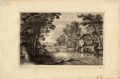Untitled - Wooded landscape near a pond with a farm.