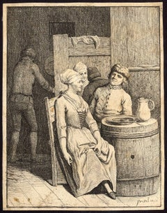 Untitled - Men and women in an inn with barrels as tables.