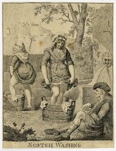 Scotch washing.' - Scottish women washing clothes with their bare feet.