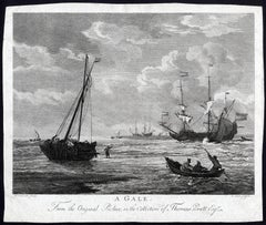 A Gale, Sailing ships and a row boat on unruly water during stormy weather.