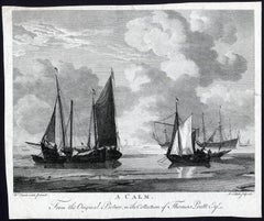 A Calm', Sailing ships and a row boat in calm weather.