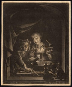 Untitled - A woman and her son at night, in an open window.