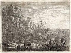 La Naufrage, The Tempest. Ships in peril near a rocky coast.