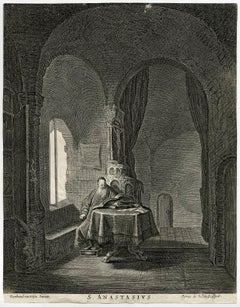 S. Anastasius - St. Anastasius in a room, seated at a table while reading.