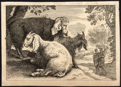 Untitled - Three angora goats and two shepherds in a landscape.