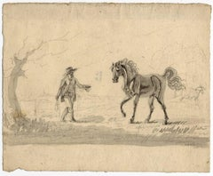 Untitled - View of a man approaching a horse.