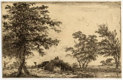 Untitled - Landscape with a stone bridge.