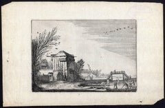 Landscape with ice skaters and a farm.