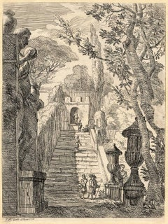 Untitled - Italian garden with statues, sculpted vases and stairs.
