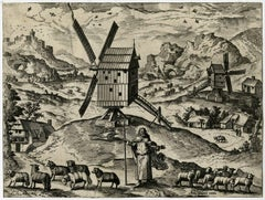Unknown - Untitled - Landscape with windmills and god as the Good Shepherd.