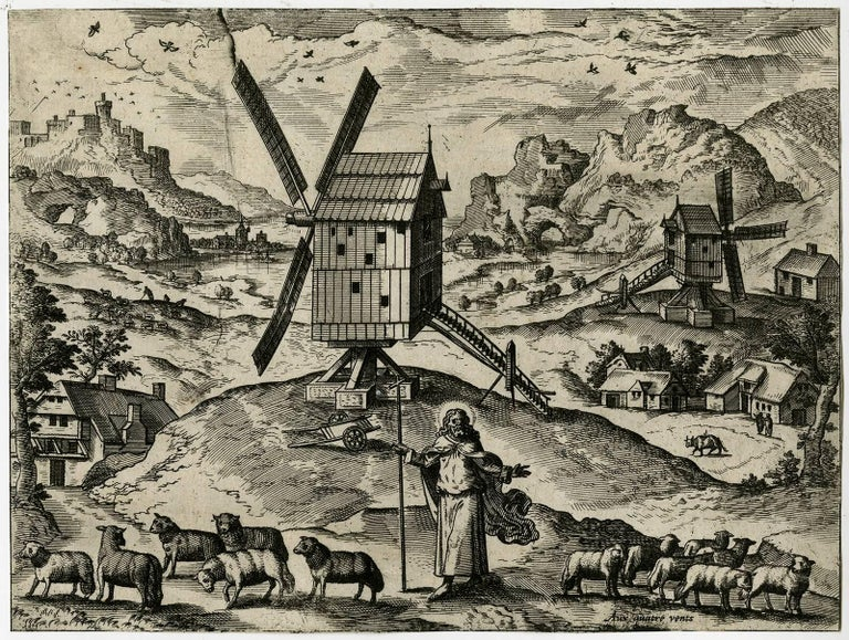 Unknown - Untitled - Landscape with windmills and god as the Good Shepherd. 1