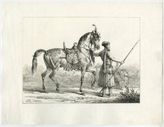 Untitled - Landscape with an Indian lancer and his horse.