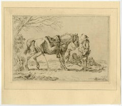 Untitled - A horse making water, with two riders and a dog present.